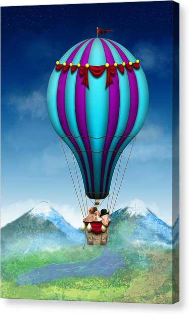 Pig Farms Canvas Print - Flying Pig - Balloon - Up Up And Away by Mike Savad