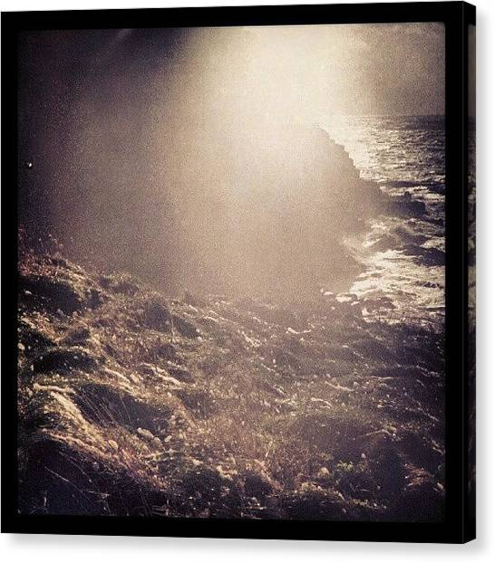 Vertigo Canvas Print - #foam Flying Up The #cliffs At by Alexandra Cook