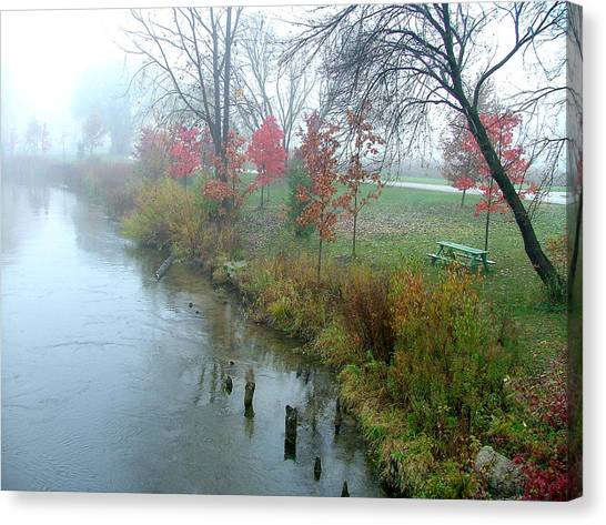 Fog On The Muskegon River Canvas Print