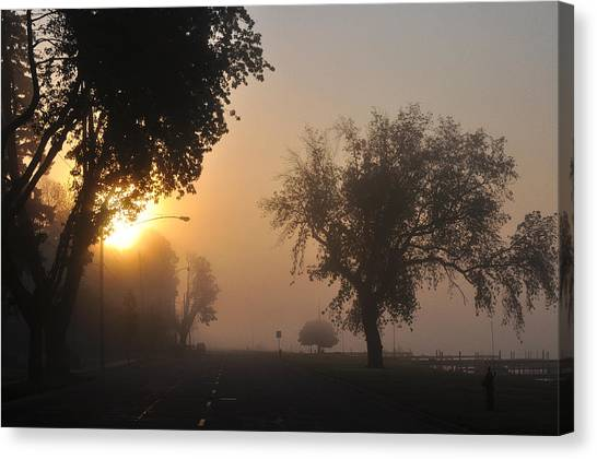 Foggy Morn Street Canvas Print