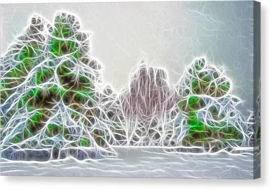 Foggy Morning Landscape 17 - Fractal Abstract Canvas Print by Steve Ohlsen