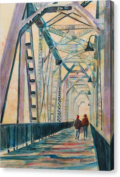 Trains Canvas Print - Foggy Morning On The Railway Bridge IIi by Jenny Armitage