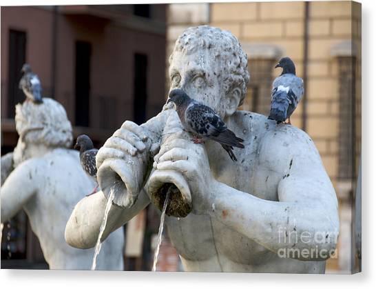Mythological Creatures Canvas Print - Fontana Del Moro In Piazza Navona. Rome by Bernard Jaubert