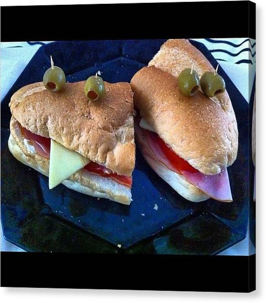 Tongue Canvas Print - Food Faces #sub #sandwich #salad #roll by Avril O