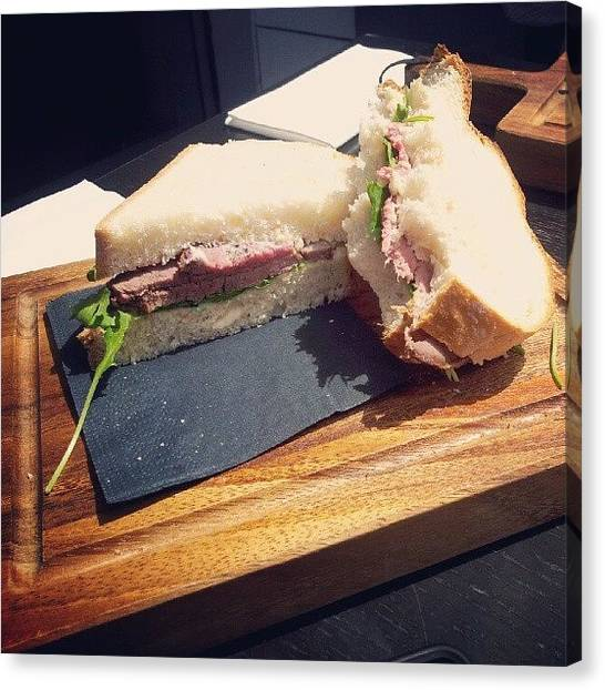 Sandwich Canvas Print - #food  #lunch Rare #beef, #horseradish by Christelle Vaillant