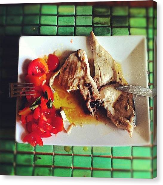 Swordfish Canvas Print - #food #tomato #swordfish #instafood by Luca Spataro