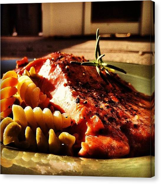Salmon Canvas Print - #food #yummy #scrumptious #awesome by Some Guy