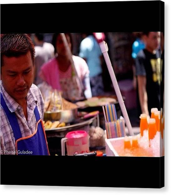 Juice Canvas Print - #foodstall #thailand #yaowarat #bangkok by Phaisal Guladee