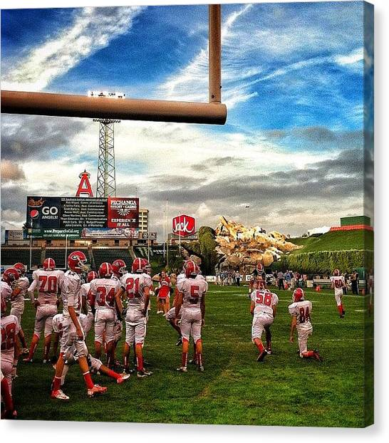 Football Teams Canvas Print - Football At Angels Stadium, Talk About by Loghan Call