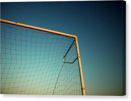 Soccer Canvas Print - Football Goalpost And Net by Kevin Button