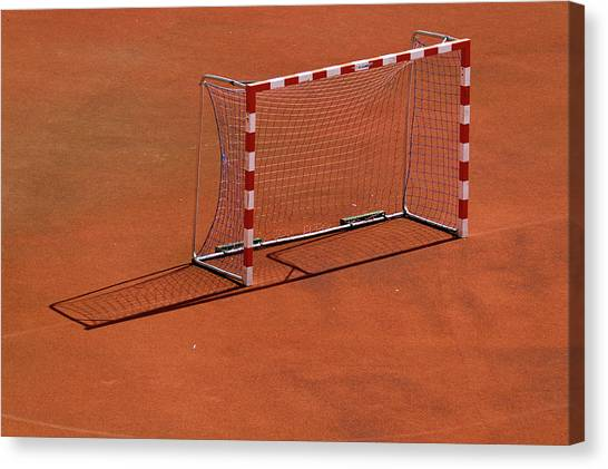 Soccer Canvas Print - Football Net On Red Ground by Daniel Kulinski