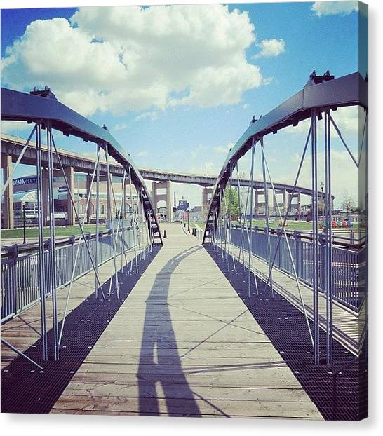 Angle Canvas Print - #footbridge #canal #harbor #downtown by Jenna Luehrsen