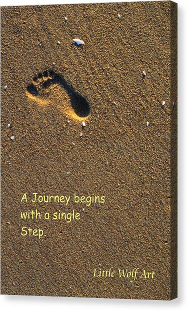 Footprint On Beach Quote Canvas Print