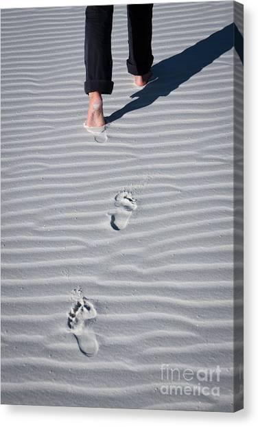 Footprint On White Sand Canvas Print