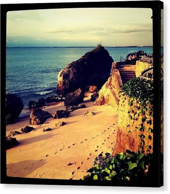 Beach Cliffs Canvas Print - Footprints by Bonnie Mulholland