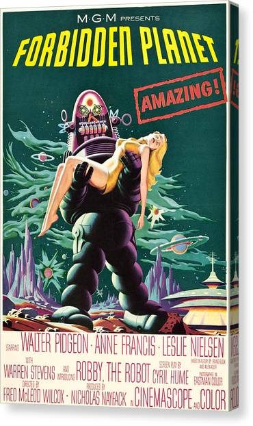 Forbidden Planet Canvas Print - Forbidden Planet, Robby The Robot, Anne by Everett