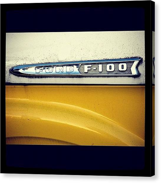 Ford Canvas Print - Ford F-100. #logo #cars #car #truck by Christopher Hughes