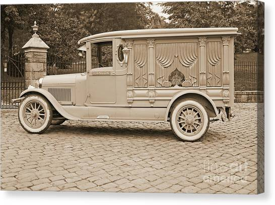 Undertaker Canvas Print - Ford Motor Company Hanlon Lincoln Hearse 1915 by Padre Art
