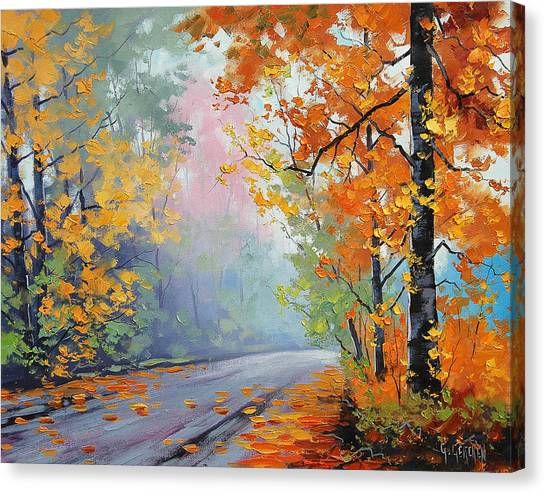 Maple Leaf Art Canvas Print - Forest Road by Graham Gercken