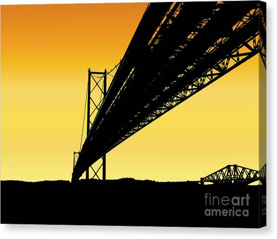 Forth Bridges Silhouette Canvas Print