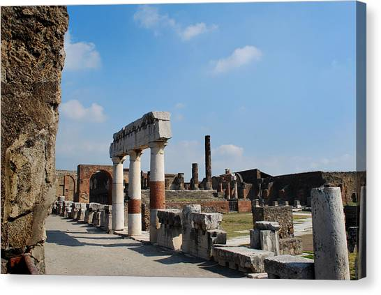Mount Vesuvius Canvas Print - Forum Pompeii by Terence Davis