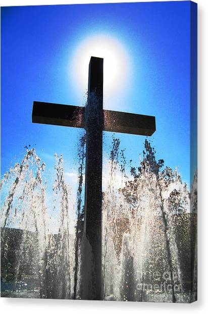 Fountain Of Hope Canvas Print by Denise Hopkins