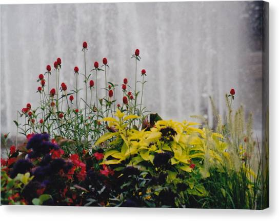 Fountains And Floral Canvas Print