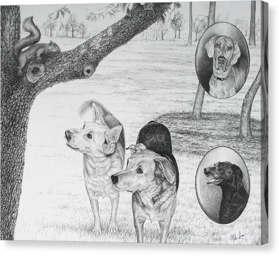 Four Dogs And A Squirrel Canvas Print