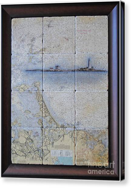 Framed Nautical Chart Of Hingham And Hull With Boston Light  Canvas Print