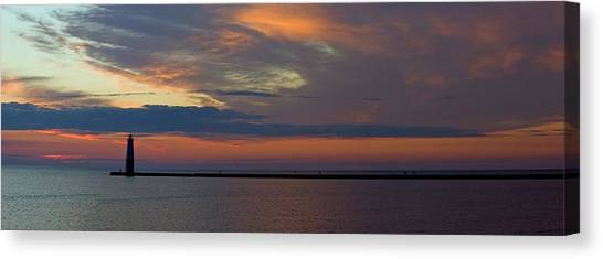 Sun Set Canvas Print - Frankfort Michigan Pier At Sunset by Twenty Two North Photography