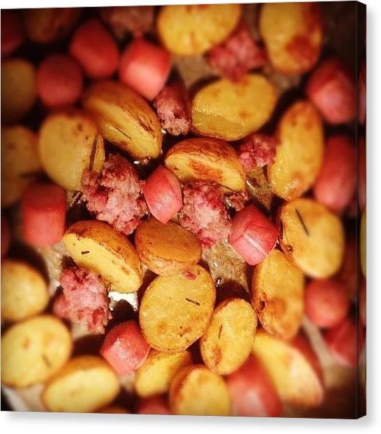 Roast Canvas Print - #frankfurter #sausage #potates #roast by Michelangelo Girardi