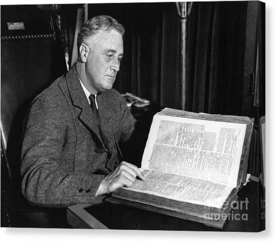 Franklin D. Roosevelt Canvas Print - Franklin D. Roosevelt, 32nd American by Photo Researchers