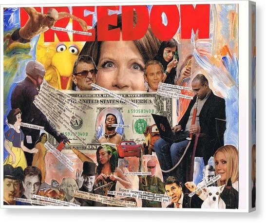 George W. Bush Canvas Print - Freedom by Frank Zabohonski