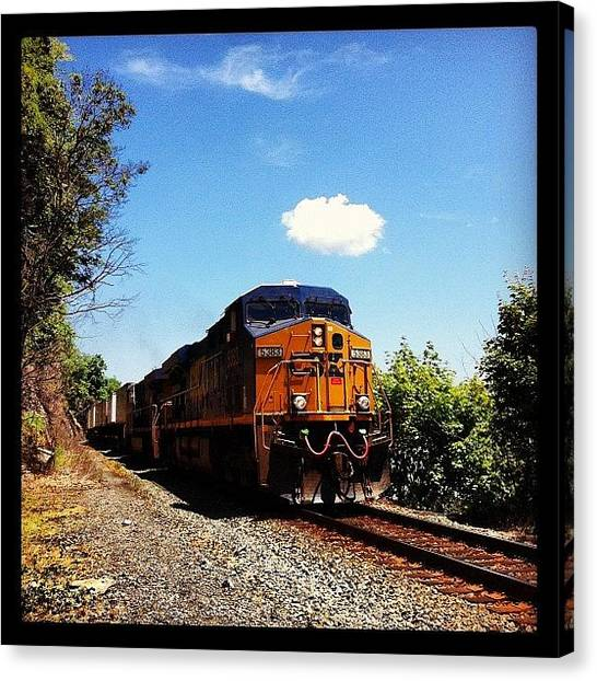 Freight Trains Canvas Print - Freight Train Passing By The West Point by Arnab Mukherjee