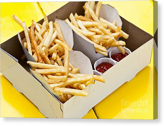 Fast Food Canvas Print - French Fries In Box by Elena Elisseeva