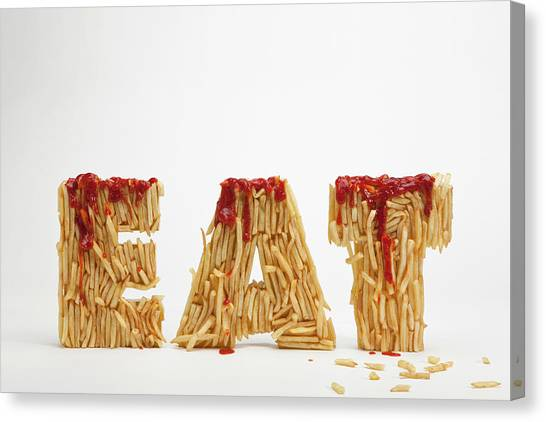 Ketchup Canvas Print - French Fries Molded To Make The Word Fat by Caspar Benson