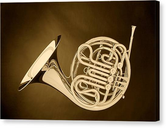 French Horn In Antique Sepia Canvas Print