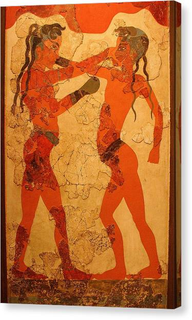 Fresco Of Boxing Children Canvas Print