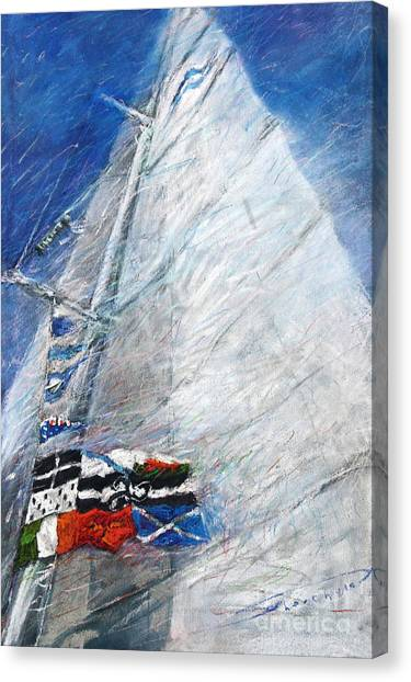 Yacht Canvas Print - Fresh Breeze by Yuriy Shevchuk
