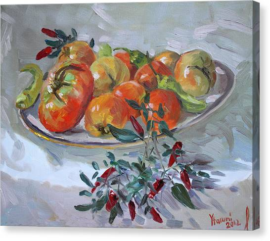 Tomato Canvas Print - Fresh From The Garden by Ylli Haruni