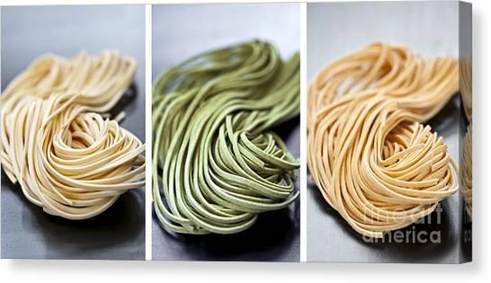 Spinach Canvas Print - Fresh Tagliolini Pasta by Elena Elisseeva