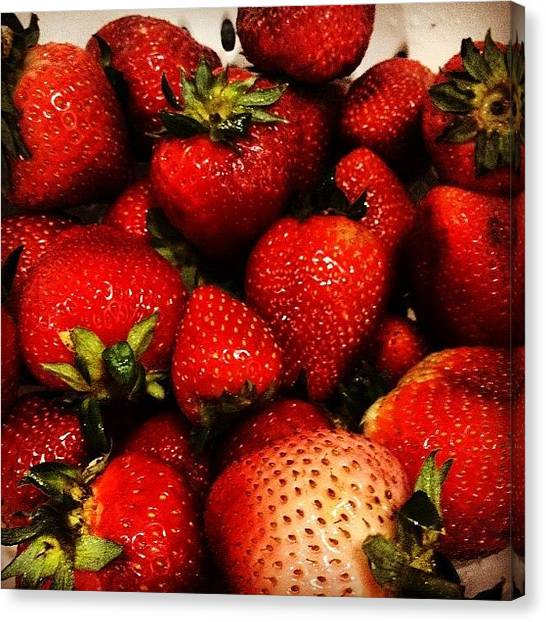 Strawberries Canvas Print - #freshmarket #produce #fruit #luscious by Anna Dmitrievna