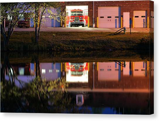 Volunteer Firefighter Canvas Print - Friday Nights by JC Findley