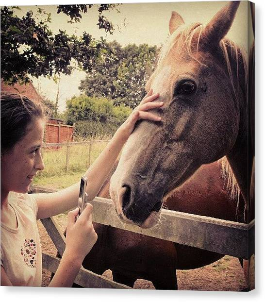 Stroke Canvas Print - From Saturday.... #girl #horse #horses by Alexandra Cook