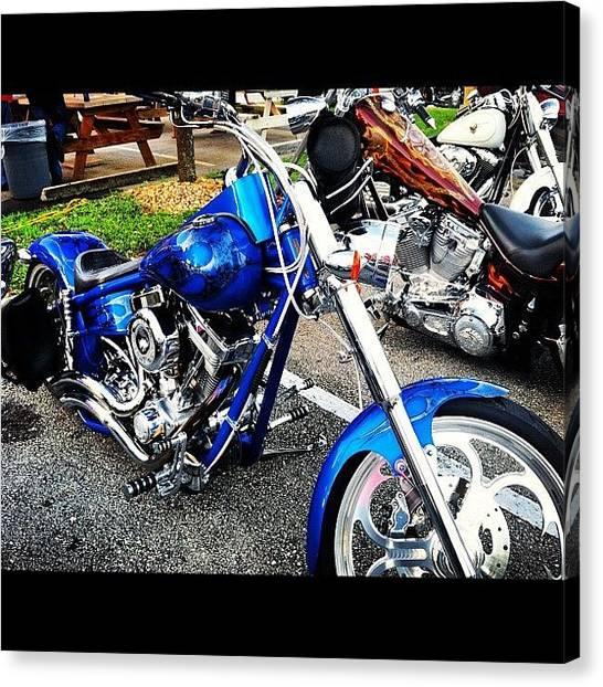 Harley Davidson Canvas Print - #front #bike #bikenight #bad #sweet by S Smithee