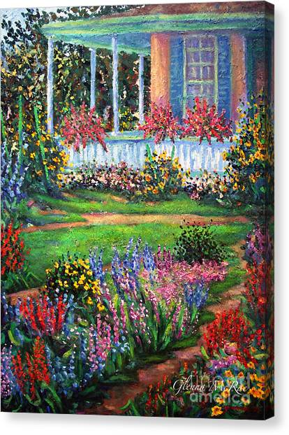Front Porch And Flower Gardens Canvas Print