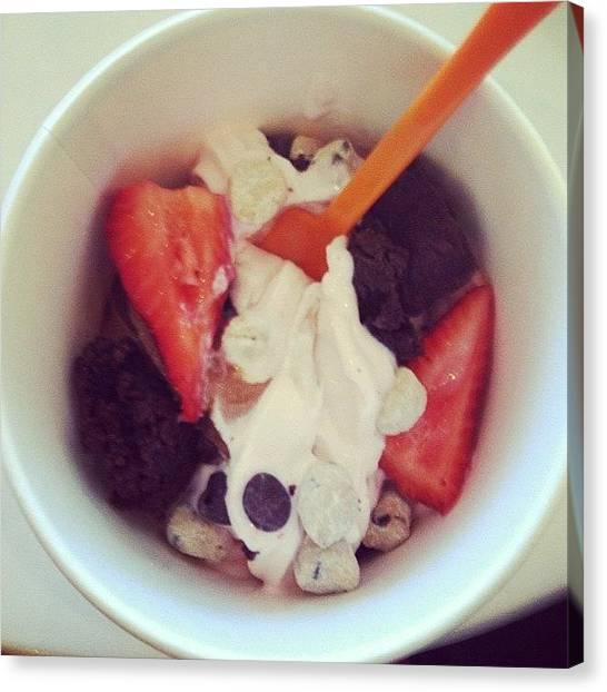 Strawberries Canvas Print - #frozen #yogurt #cookiedough #brownie by Carolina Paz