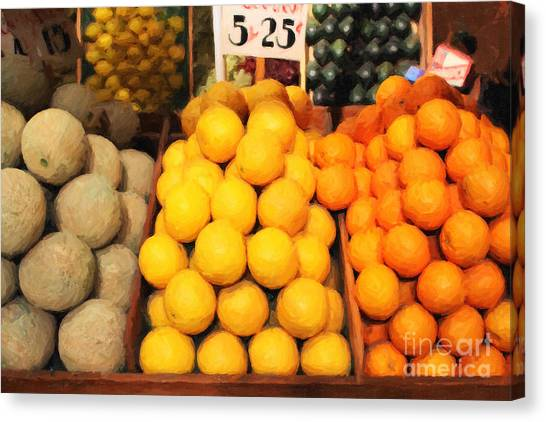 Canteloupes Canvas Print - Fruit Market - Painterly - 7d17401 by Wingsdomain Art and Photography
