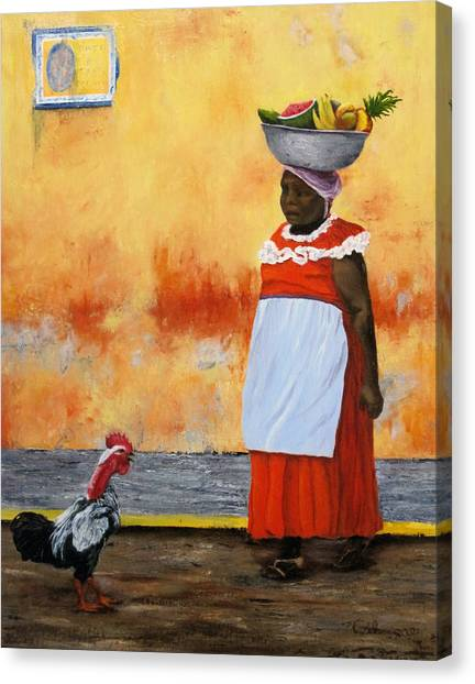 Fruit Seller Canvas Print