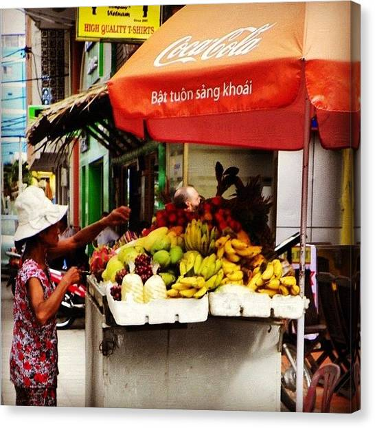 Vietnamese Canvas Print - Fruit Stall In Nha Trang. #fruit by Richard Randall